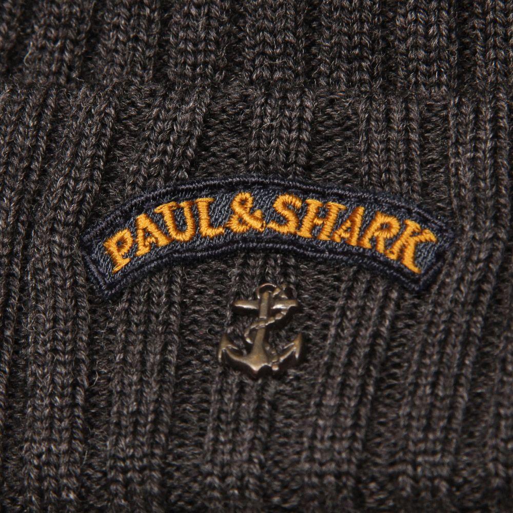 09c4ba024 Paul & Shark Anchor Logo Beanie Hat in Dark Grey | at Aphrodite Clothi