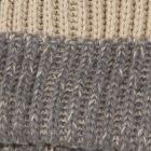 Alpaca & Wool Blend Striped Bobble Hat - Oat