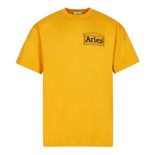 aries t-shirt temple logo | FSAR6000 OCHRE | yellow