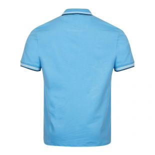 Athleisure Paul Polo Shirt Curved Logo - Open Blue