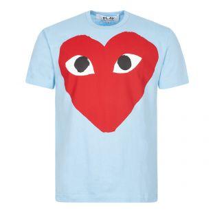 comme des garcons t-shirt big heart logo blue