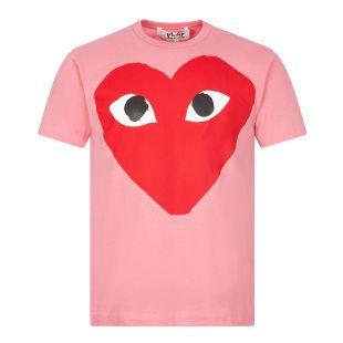 comme des garcons play t-shirt big heart logo   pink