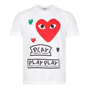 comme des garcons play t-shirt multi heart logo   white
