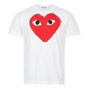 comme des garcons play t-shirt large double heart logo white