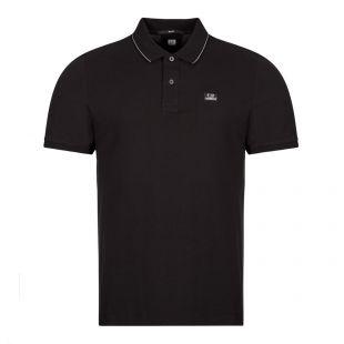 CP Company Short Sleeve Logo Polo, Black, Aphrodite1994