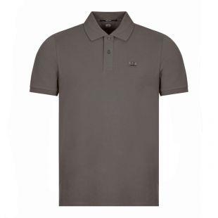 CP Company Short Sleeve Logo Polo, Stone Grey/Green, Aphrodite1994
