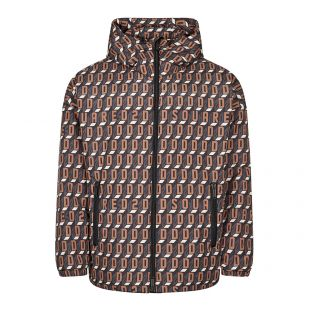 dsquared windbreaker jacket logo print | brown