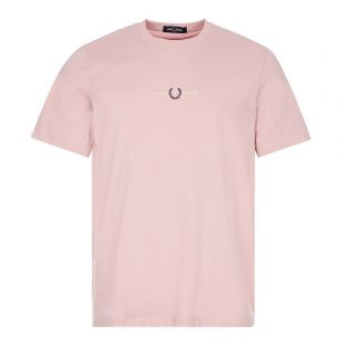 fred perry t-shirt embroidered logo chalky pink