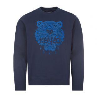 Kenzo Sweatshirt Tiger Logo    FB55SW1174XF 76 Navy Blue   Aphrodite