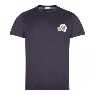 moncler t-shirt double logo | navy