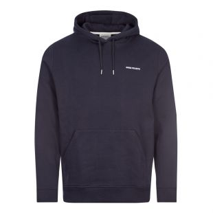 Norse Projects Vagn Logo Hoodie   Navy