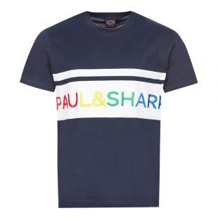 Paul and Shark T-Shirt Grid Logo | Navy / White | Aphrodite