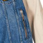 Jacket Denim and Leather - Blue / White