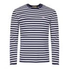 Maison Kitsune Long Sleeve T-Shirt AU00105K J2004 NAWH in Navy Stripe
