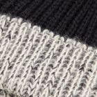 Alpaca & Wool Blend Striped Bobble Hat - Navy