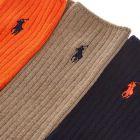 Socks Three Pack - Orange / Navy / Taupe