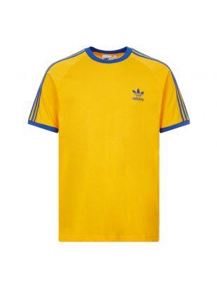 Adidas 3 Stripe T-Shirt | GE6233 Gold / Blue | Aphrodite