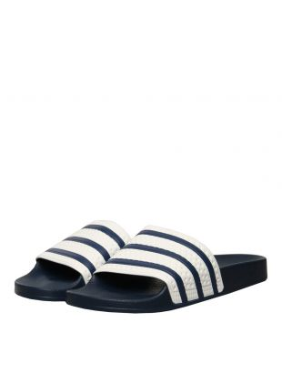 Adilette Slides - Navy / White