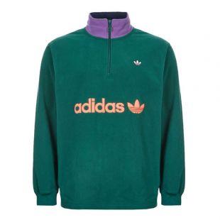 adidas Fleece Half Zip | EI6362 Green / Purple