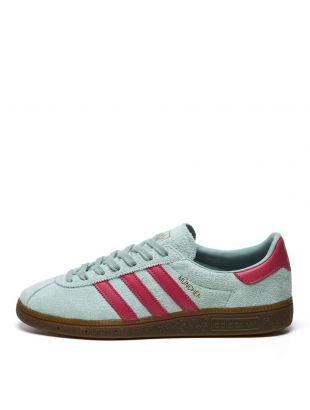 adidas Originals Munchen Trainers   FX5634 Hazgreen / Pink
