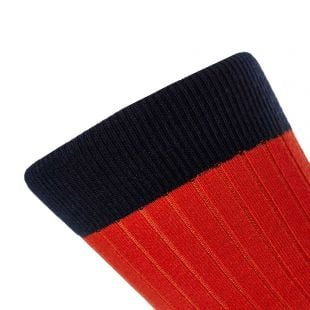 Socks Colour Blocked - Red / White