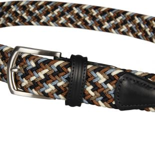 Woven Belt - Navy/Brown