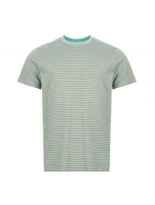 APC T-Shirt COEFCU|H26855|CAB Camel / Green Striped At Aphrodite Clothing