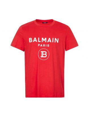 Balmain T-Shirt Rubber Logo | UH11601I371 MAI Red | Aphrodite