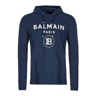 Balmain Hoodie | SH01006I196 6UB Navy Logo