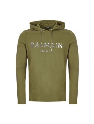 balmain long sleeve hooded t-shirt TH11006 I234 7UA olive
