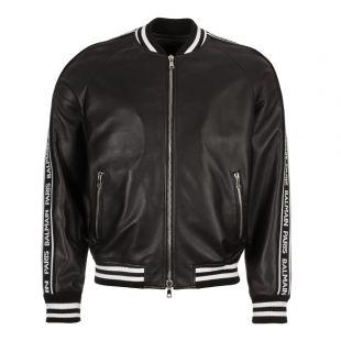 Balmain Leather Bomber Jacket RH18893L002 0PA Black