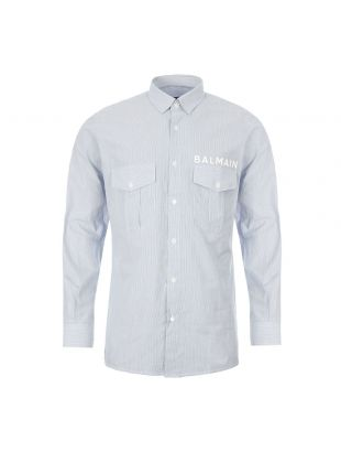 balmain shirt TH12453 C123 SAB blue / white