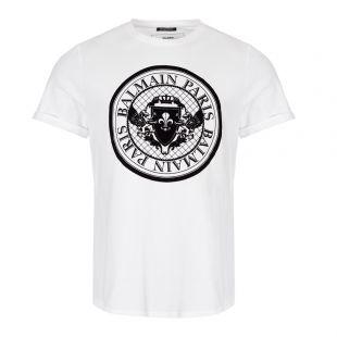 Balmain T-Shirt Medallion   SH11135I107 GAB White