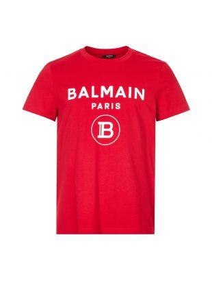 Balmain T-Shirt Velvet Logo , UH01601I394 3AA Red , Aphrodite