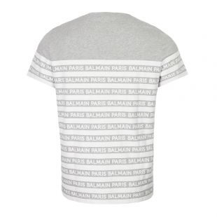 T-Shirt - Striped Logo Grey
