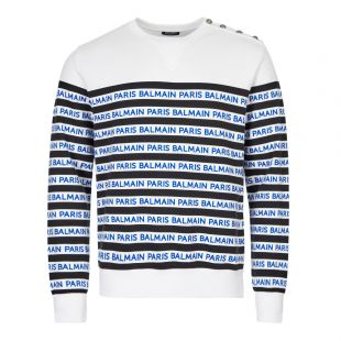 Balmain Sweatshirt | SH13237I104 EAG White / Navy striped | Aphrodite