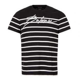 Balmain T-Shirt | SH11601I130 EAB Black / White Signature