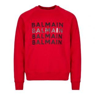 Balmain Sweatshirt Logo SH13279Z331 3AA Red