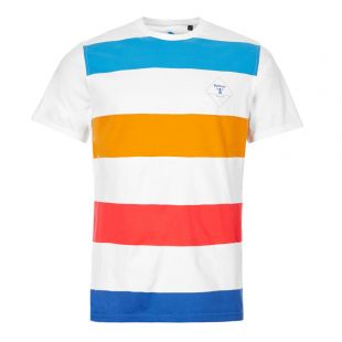 Barbour Beacon T-Shirt | MTS0632 WH11 White / Blue / Orange Stripe