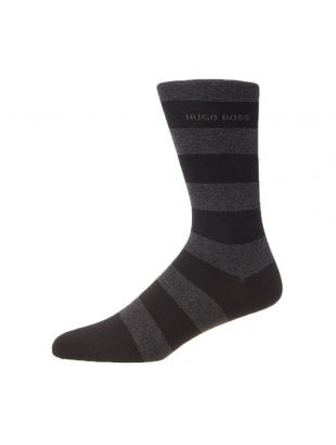 2 Pack Block Stripe Socks - Black