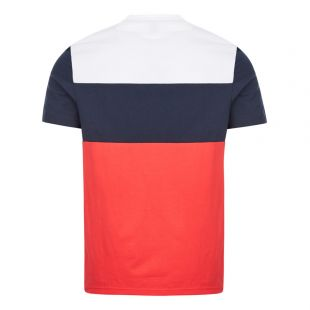 Athleisure T-Shirt 6 - White / Navy / Red