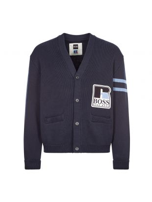 boss x russell athletic krussel cardigan navy