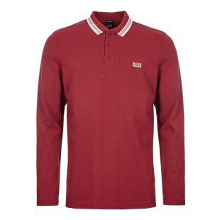 BOSS Athleisure Long Sleeve Polo Shirt | 50272945 653 Burgundy