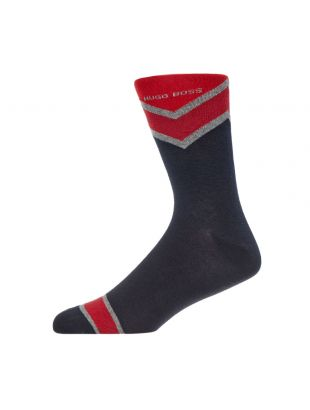 2 Pack Socks Rschevron - Navy / Red Stripe