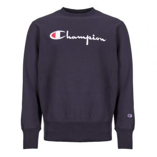 champion sweatshirt script logo 212576 BS501 NNY navy