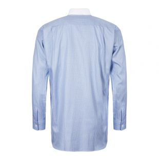 Check Shirt Ribbed Collar - Blue