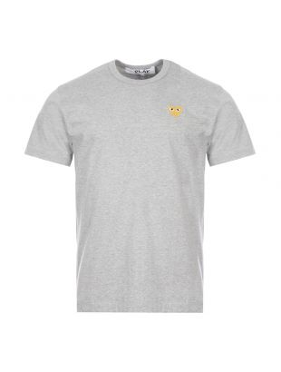 comme des garcons play t-shirt gold heart logo grey