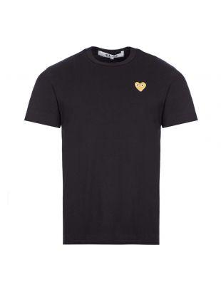 comme des garcons t-shirt gold heart logo black