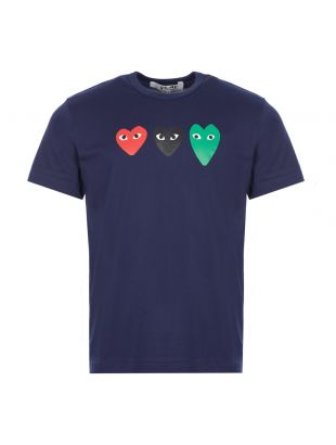 comme des garcons play t-shirt triple heart logo navy