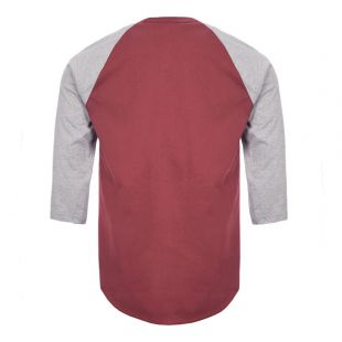 3/4 Sleeve T-Shirt - Grey / Burgundy